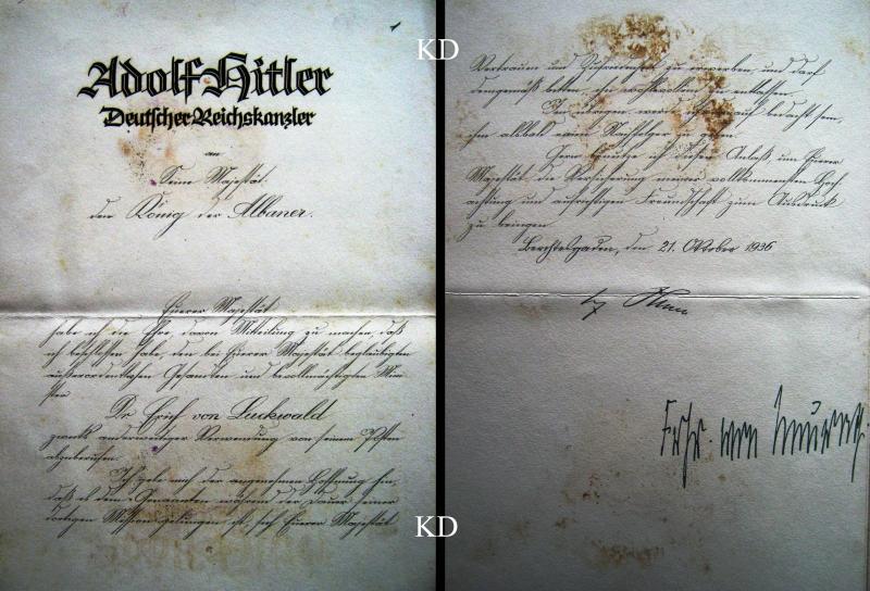 1936/Letër e Adolf Hitlerit për Mbretin Zog