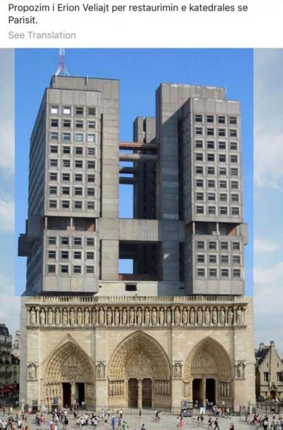 Ideja e Veliajt për rikonstruksionin e Notre-Dame