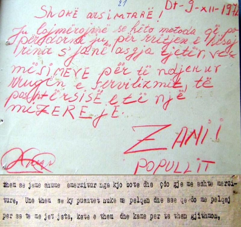 Trakti i shkruar nga Laura dhe pjesë e dëshmisë së saj në hetuesi