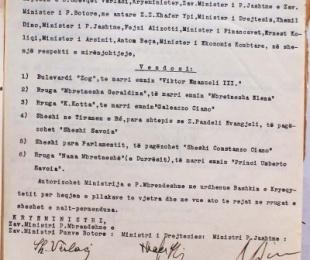 1939/Emrat e rrugëve të reja në Tiranë pas pushtimit fashist