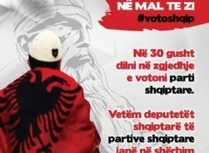 'Voto Shqip në Mal të Zi, vetëm deputetë shqiptarë janë në shërbim të shqiptarëve'