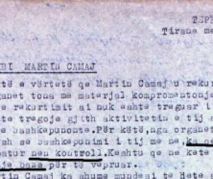 """1965/Sigurimi: """"Martin Camaj na e bëri me hile, por e dyshonim"""""""