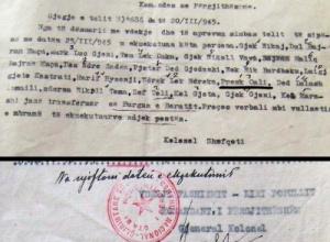 Ekzekutimi i 14 burrave më 25.3.1945, telegrami i kohës